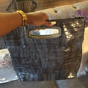 Grey Snakeskin Liz Claiborne Large Purse Clutch